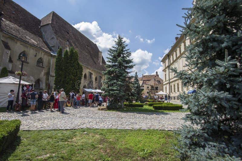 Ville médiévale de sighisoara Brique, trottoir photo libre de droits