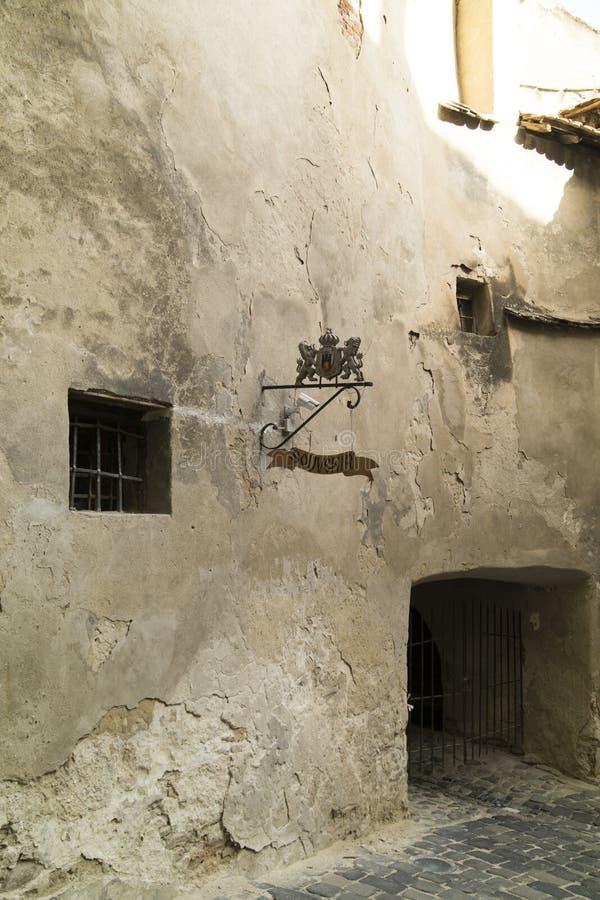 Ville médiévale de Sighisoara, Roumanie mur image stock