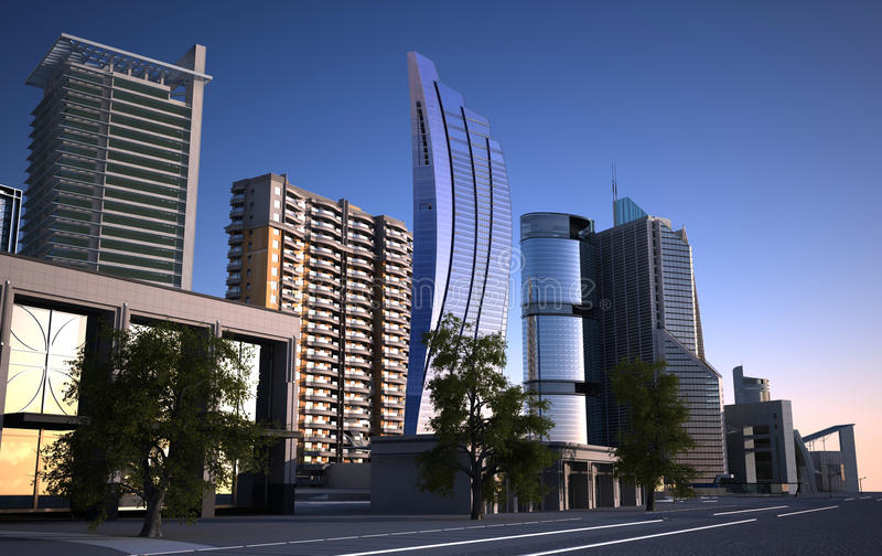 Ville moderne illustration stock illustration du haut for Ville moderne