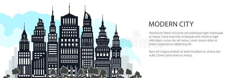 Ville moderne de silhouette grande, bannière illustration libre de droits
