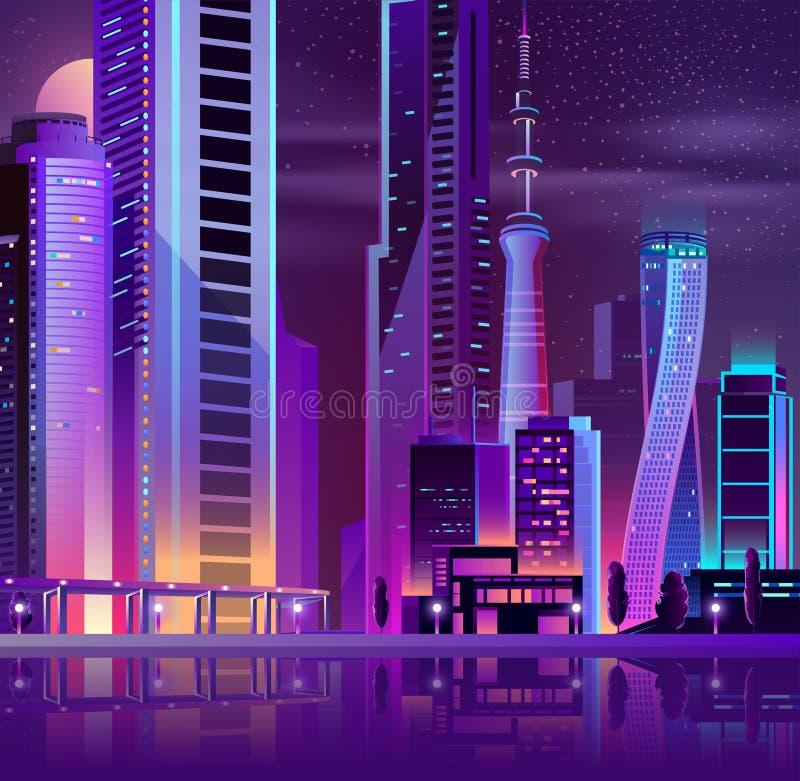 Ville moderne sur l'île de mer illustration de vecteur