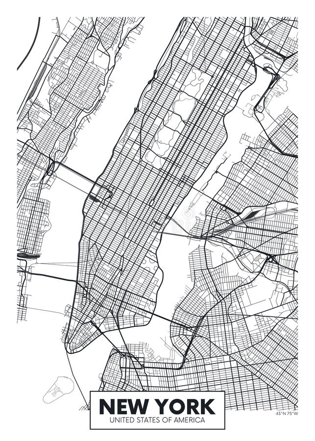 Ville New York de carte d'affiche de vecteur illustration libre de droits