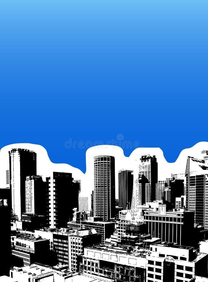 Ville noire sur le fond bleu. illustration libre de droits