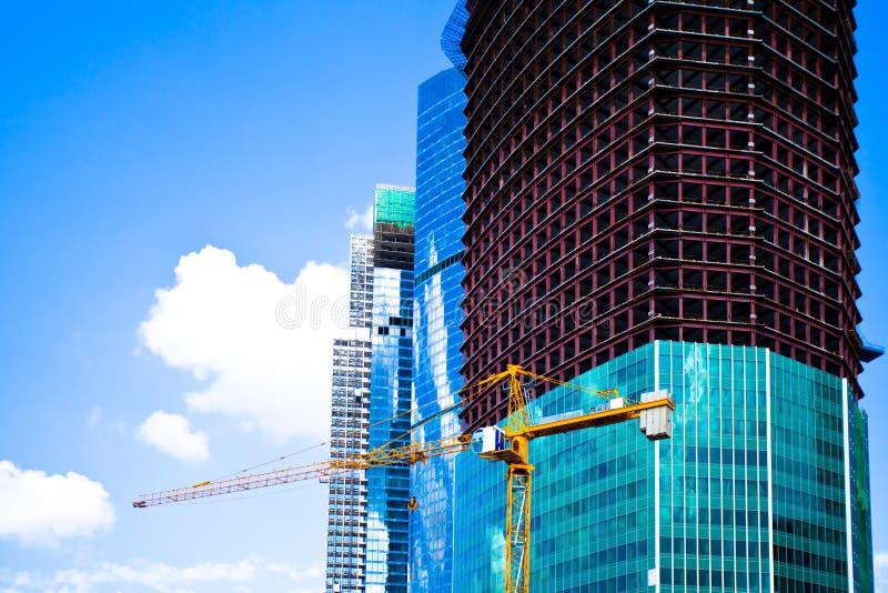 Ville non finie de Moscou de centre d'affaires de gratte-ciel images libres de droits