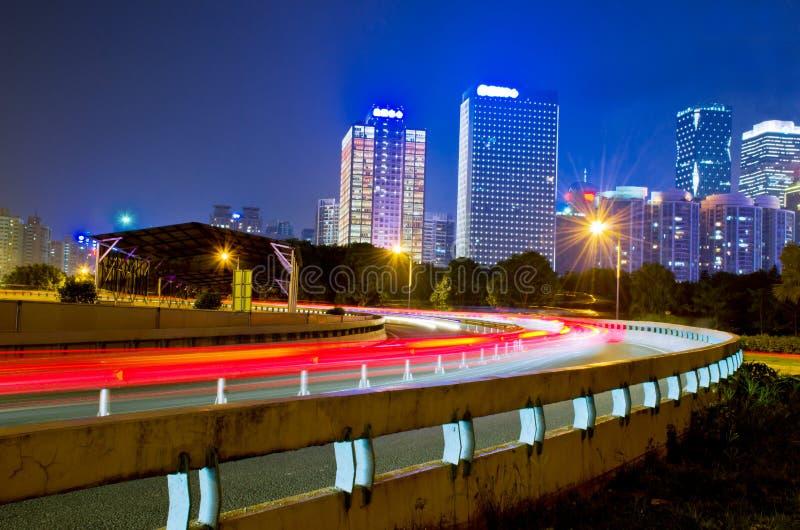 Ville nouvelle de Guangzhou Pearl River la nuit images libres de droits