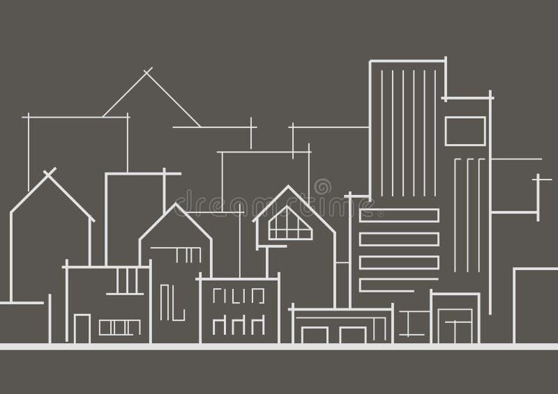 Ville panoramique linéaire de croquis sur le fond gris illustration stock