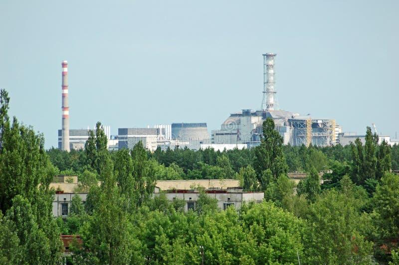 Ville perdue Pripyat et centrale électrique de Chernobyl photographie stock