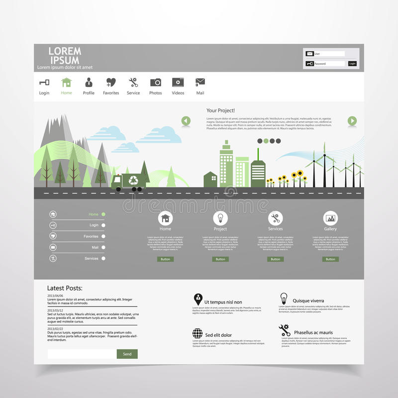 Ville plate d'eco sur la conception plate de calibre de site Web illustration de vecteur