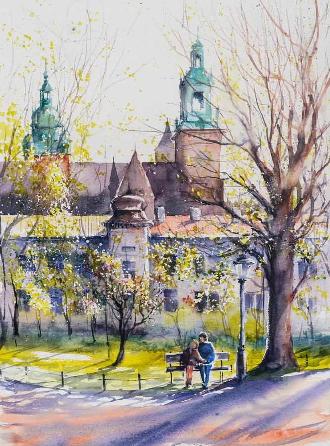 Ville polonaise Cracovie ? la pluie watercolors illustration libre de droits