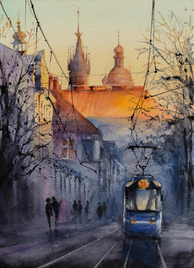 Ville polonaise Cracovie watercolors illustration stock