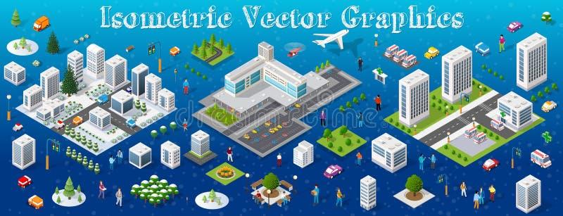 Ville réglée isométrique de module illustration de vecteur