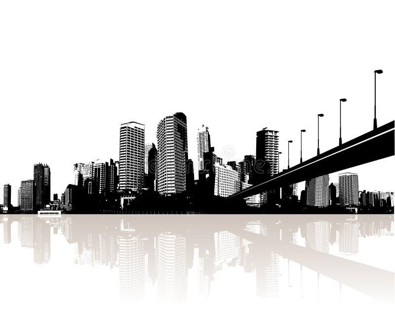 Ville reflétée dans l'eau. Vecteur illustration libre de droits