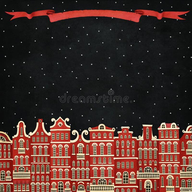 Ville rouge d'hiver illustration stock