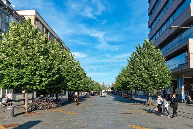 Ville serbe de rue piétonnière principale de Zrenjanin Le centre ville de Zrenjanin, architecture de ville, l urbain images stock