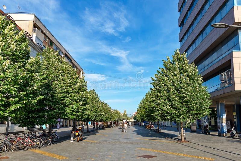 Ville serbe de rue piétonnière principale de Zrenjanin Le centre ville de Zrenjanin, architecture de ville, l urbain photographie stock libre de droits