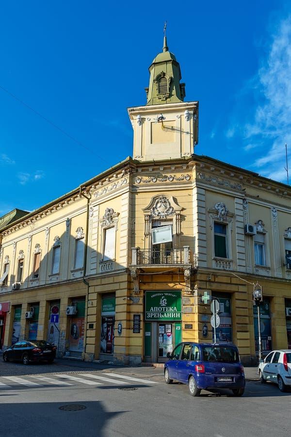 Ville serbe de rue piétonnière principale de Zrenjanin Le centre ville de Zrenjanin, architecture de ville, l urbain photo libre de droits