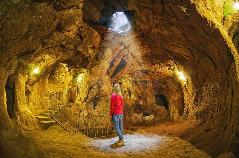 Ville souterraine de caverne de Derinkuyu, Cappadocia image libre de droits