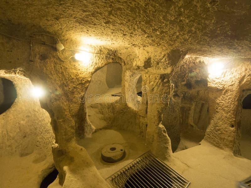 Ville souterraine de Kaymakli, Turquie images libres de droits