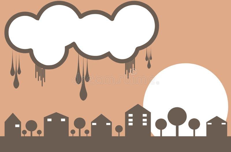 Ville stylisée avec le nuage illustration de vecteur