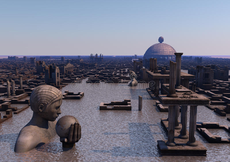 Ville submergée antique photo libre de droits