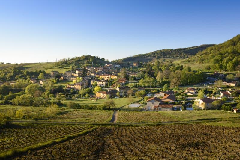 Ville sur Jarnioux,博若莱红葡萄酒,法国村庄  图库摄影