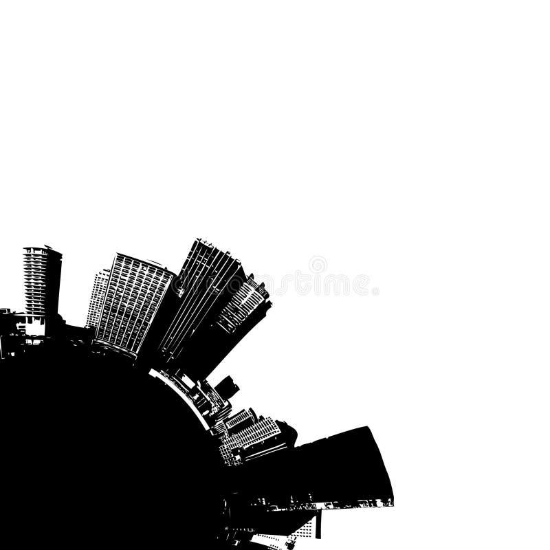 Ville sur le globe quart. illustration de vecteur