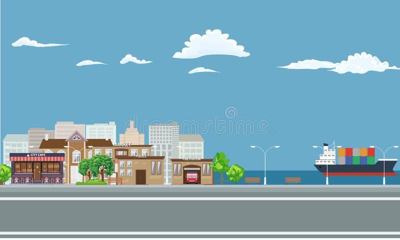 Ville sur le paysage de bord de la mer avec le cargo sur la mer illustration stock
