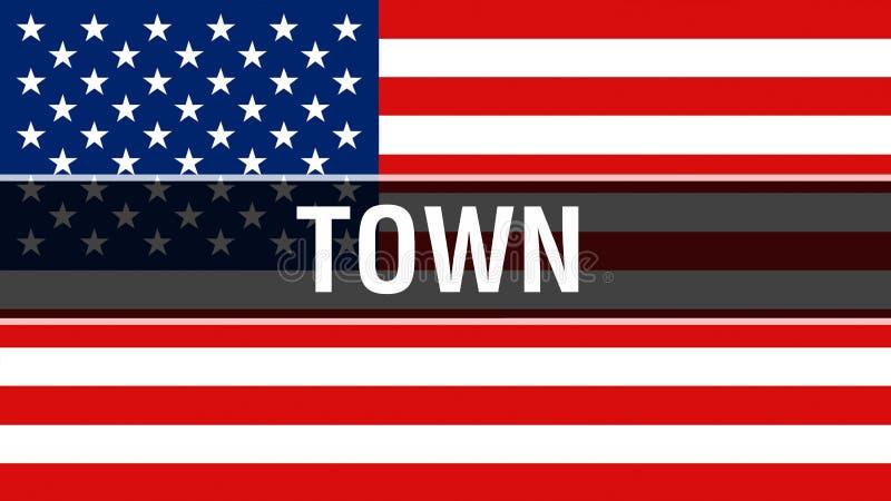 Ville sur un fond de drapeau des Etats-Unis, rendu 3D Drapeau des Etats-Unis d'Amérique ondulant dans le vent Drapeau américain f illustration libre de droits