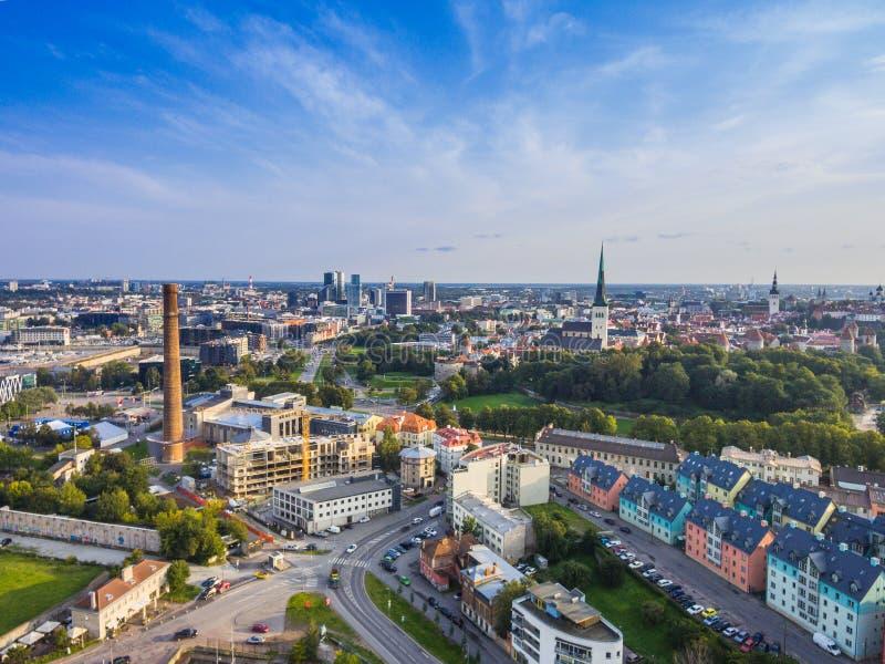 Ville Tallinn, Estonie de panorama de vue aérienne photo libre de droits