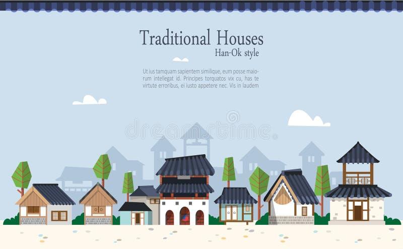 Ville traditionnelle coréenne illustration stock