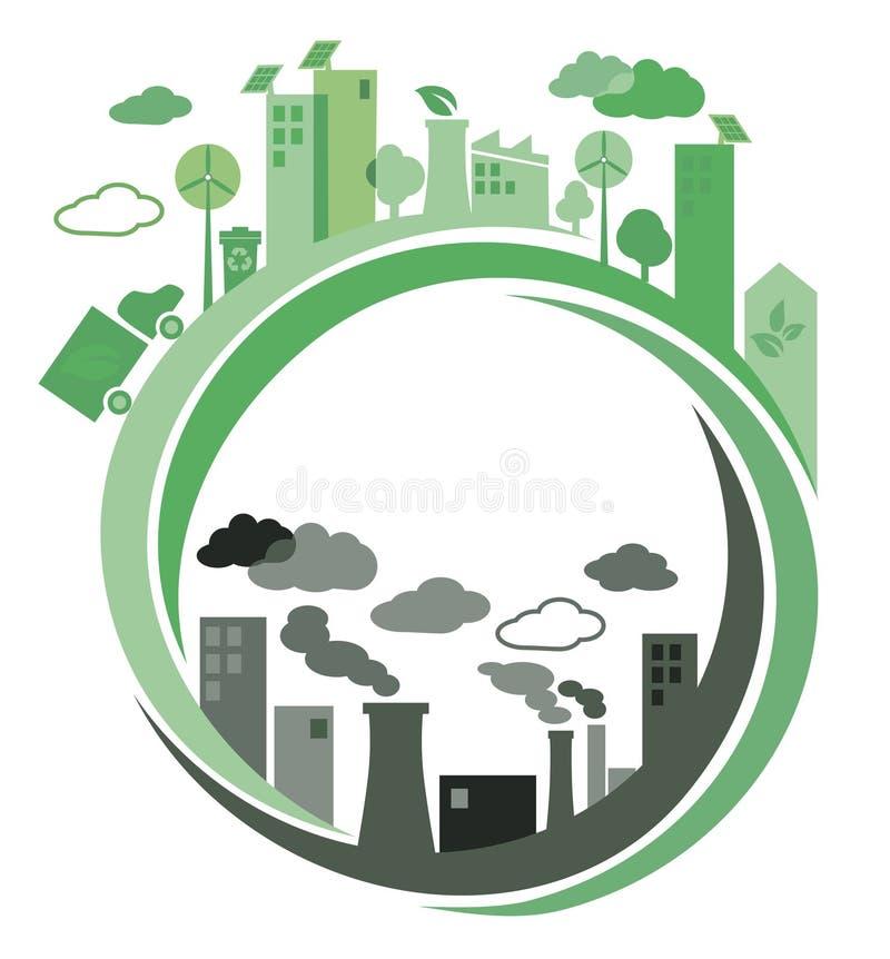 Ville verte et pollué Concept illustration de vecteur