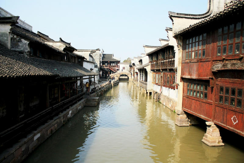 Ville-Wuzhen aqueuse antique chinoise photo stock