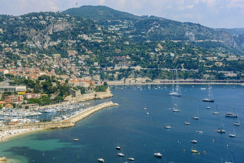 Villefranche-sur-Mer (Kooi d'Azur) stock foto