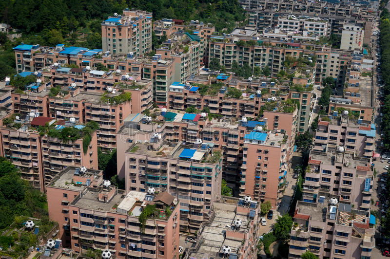 Villege city view of guiyang,china 2. Guiyang, China forest villege cityscape. Guiyang is a famous tourism city stock photography