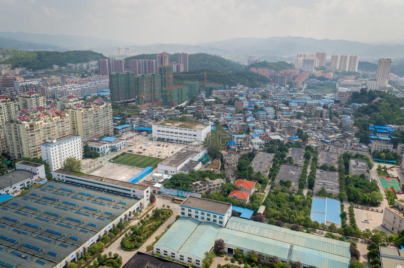 Villege city view of guiyang,china 8. Guiyang, China forest villege cityscape. Guiyang is a famous tourism city royalty free stock photos