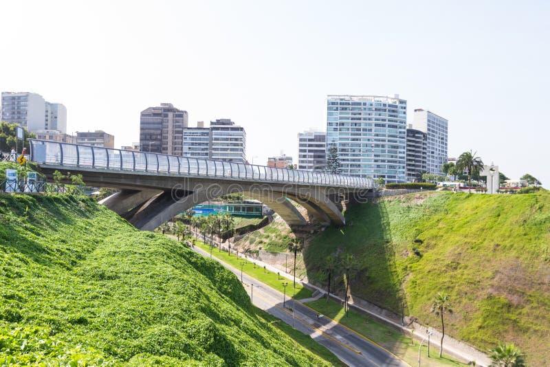 Villena Rey Bridge, Miraflores Lima fotografering för bildbyråer
