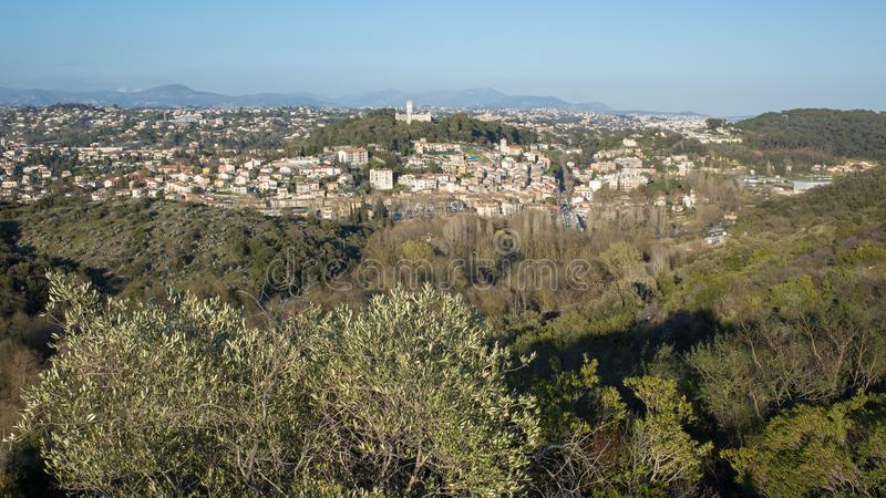 Villeneuve Loubet village. Contrast between the cold of the snow and the heat of the rising sun stock image