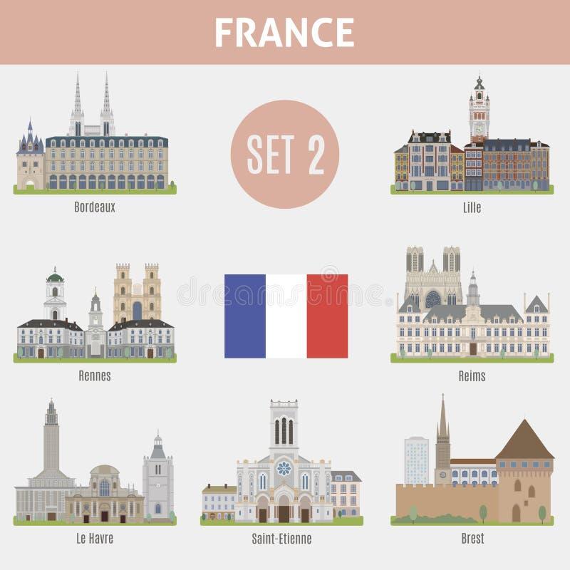 Villes célèbres d'endroits dans les Frances illustration libre de droits