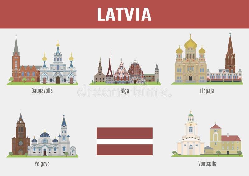 Villes célèbres d'endroits de la Lettonie illustration stock
