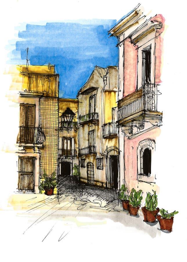 Villes de l'Italie d'éléments Croquis, oeuvre d'art et d?coration peints image libre de droits