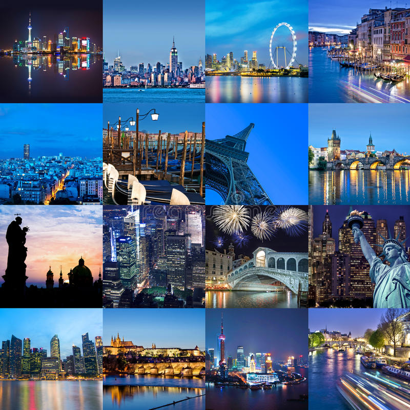 Villes du mot à la nuit, au collage de photo, au voyage et au concept de tourisme images stock