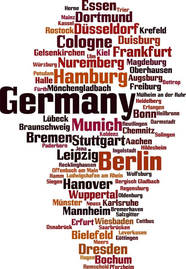 Villes en nuage de mot de l'Allemagne illustration libre de droits