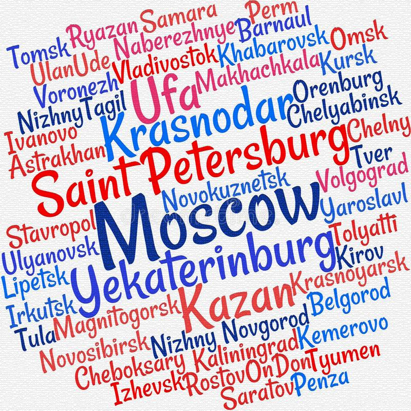 Villes en nuage de mot de la Russie illustration libre de droits