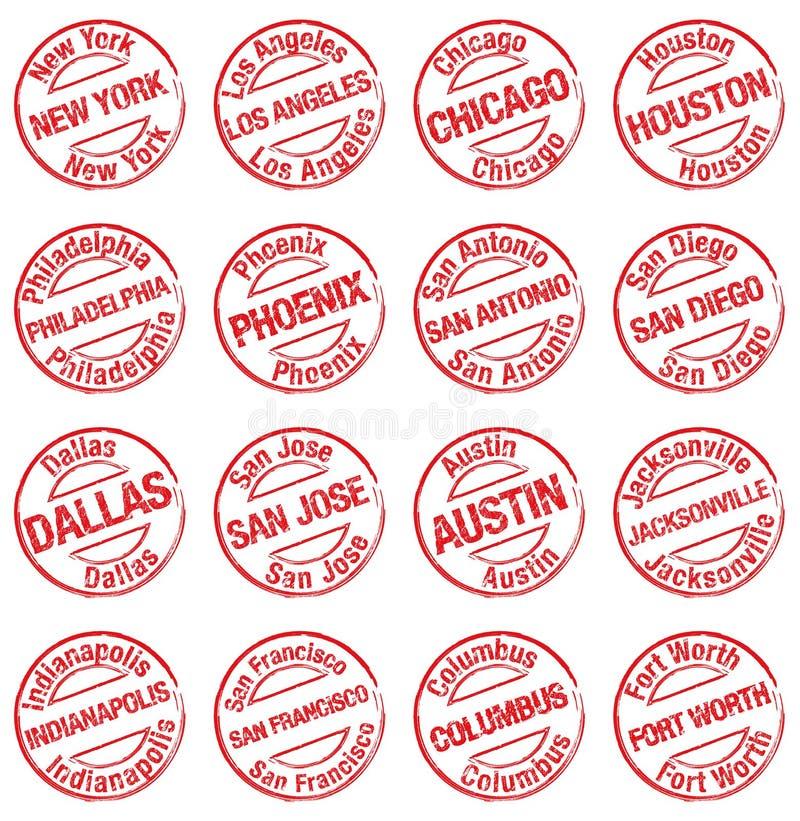 Villes Etats-Unis de timbre illustration libre de droits
