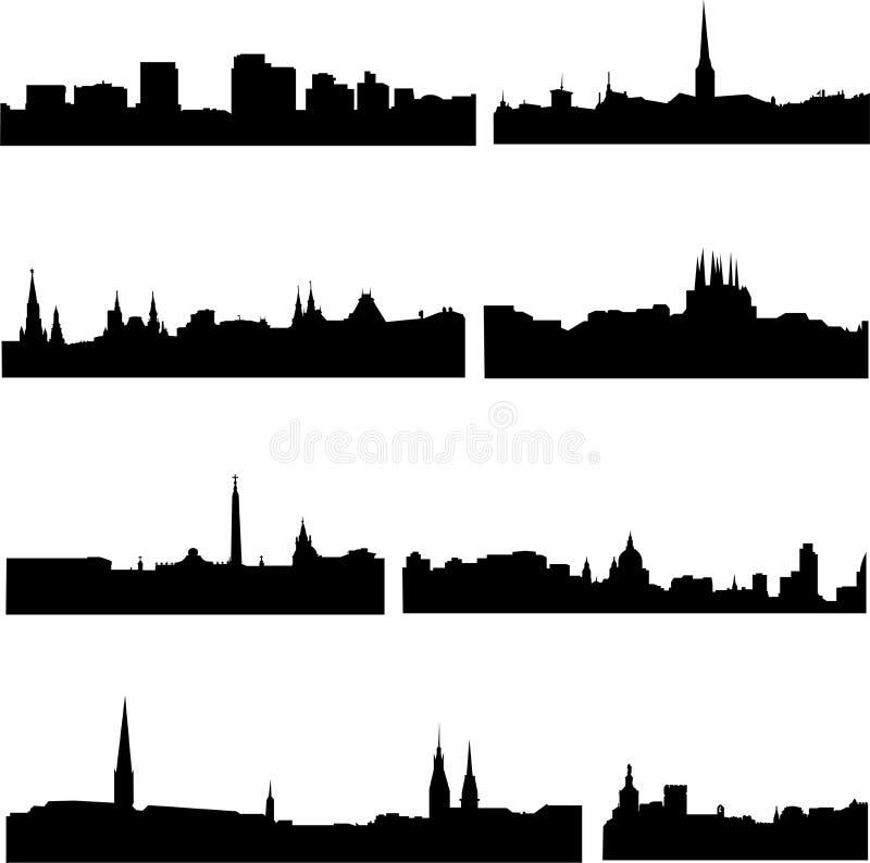 Villes européennes dans huit pays illustration stock
