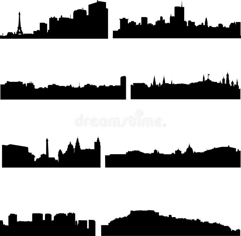 Villes européennes dans huit pays illustration de vecteur