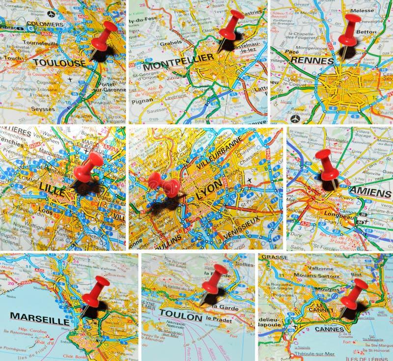 Villes françaises sur la carte (1) photographie stock