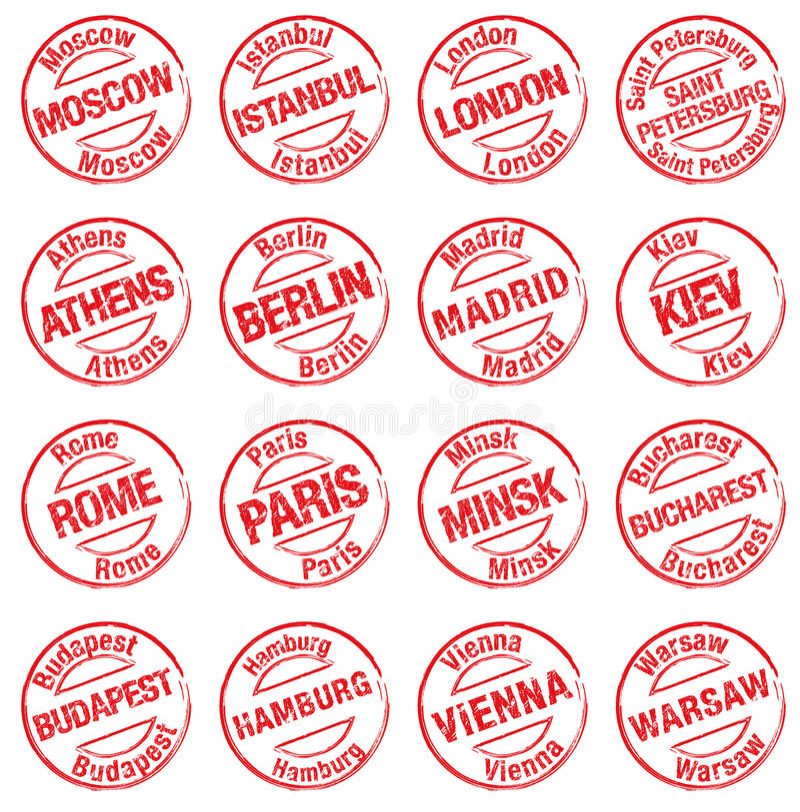Villes l'Europe de timbre illustration stock