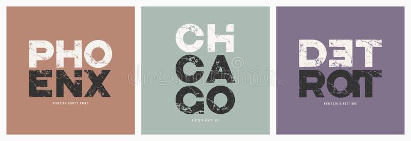 Villes T-shirt de Phoenix Chicago Detroit et grunge de vecteur d'habillement illustration stock