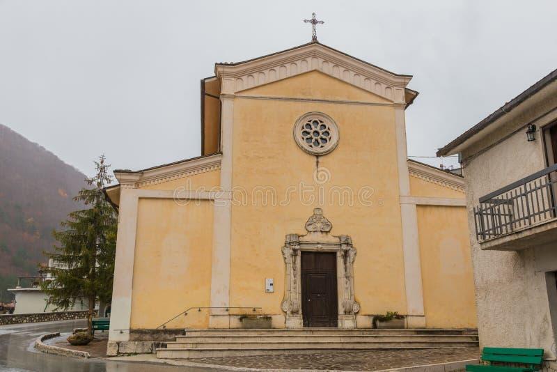 Church S.Maria Assunta, Villetta Barrea, Abruzzo, Italy. October. Villetta Barrea, Abruzzo, Italy. 13 October 2017. Photographic documentation of the church of S stock image